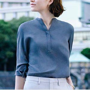 Uniqlo Long Sleeve Cotton 1/4 Button Shirt Blue